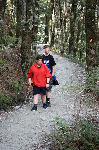 Aaron and Harry on the walk up to the Rob Roy glac