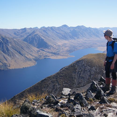Sam looks out over the North Mavora Lake