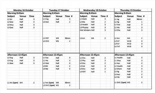 Practice Exam Timetable