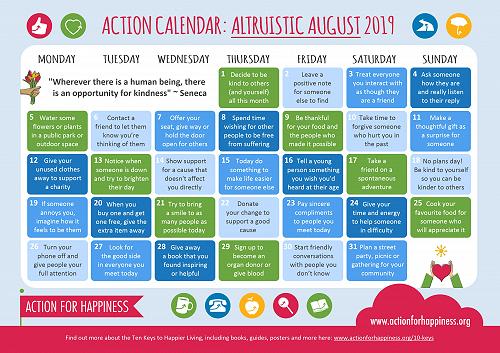 Action Calendar: Altruistic August
