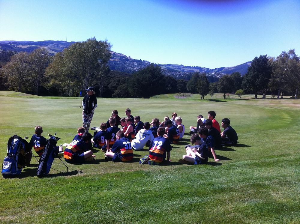 Year 7&8 boys enjoying a golf lesson with Melanie Harper