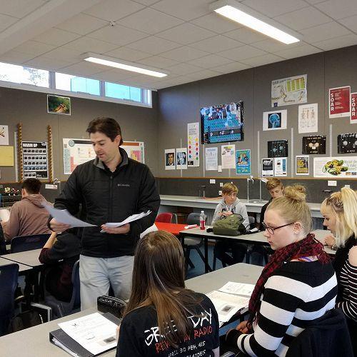 Mr Lewers teaching his level 2 biology class.