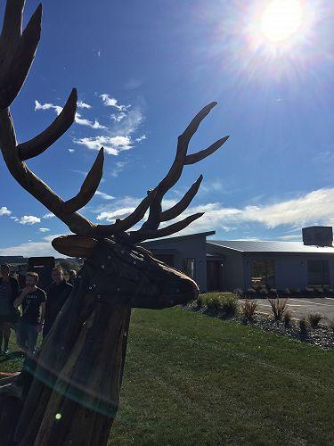 Stag and Hind sculpture installation - Dukes Road Crematorium