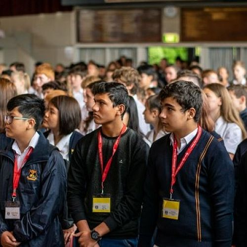 International students at the powhiri (front row seats – a new experience!)
