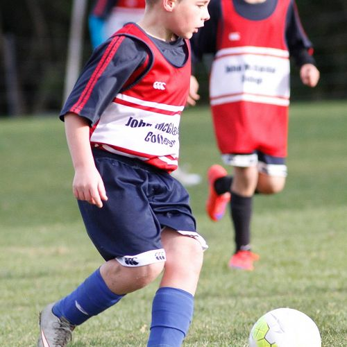 Levi James tees up the ball for another cross into the box in the Waihi Exchange Football Game