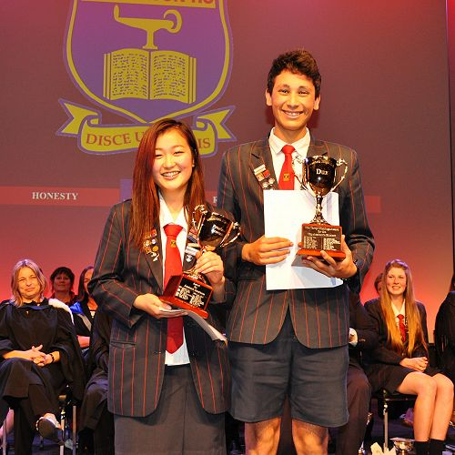 Top student and Dux, Fredy Youssif, with Proxime Accessit, Rachel Liao.