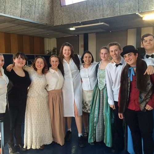 The cast and crew of Prunella, written and directed by Kate Steadman for the TheatreFest One Act Play Festival.