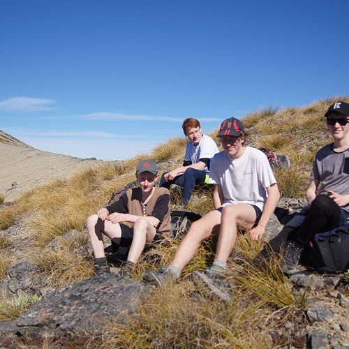 Adrian, Matthew, Barend and Neil on the ridge to Mt Campbell