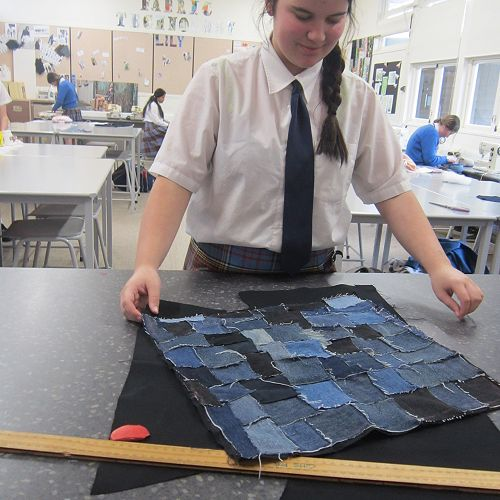 Scarlett Manning constructing a raw-edge denim cushion