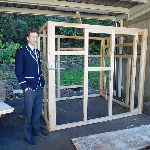 Hadley Johnston with the beginnings of his sauna