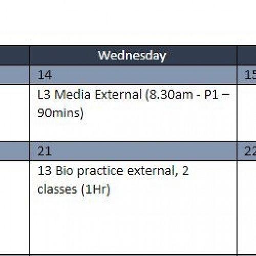 Assessment Calendar for Term 4, Week 1-2 Year 13