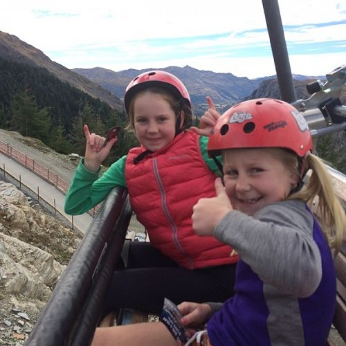 Pippa and Martha on the luge