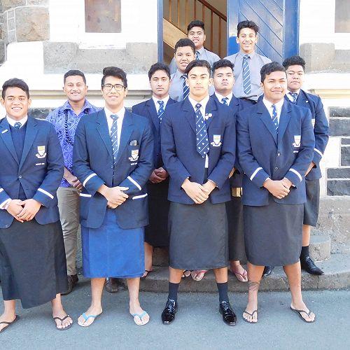 Our Pasifika students wearing their traditional Samoan attire, an Ie faitaga (lavalava)