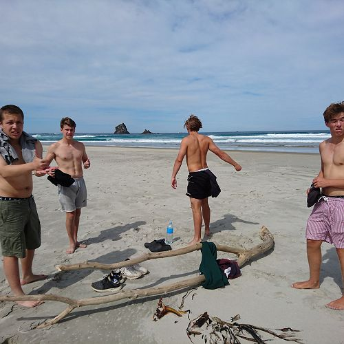 Quinn, Luckas, Nico and Sam take of their shirts for no apparent reason at Sandfly Bay
