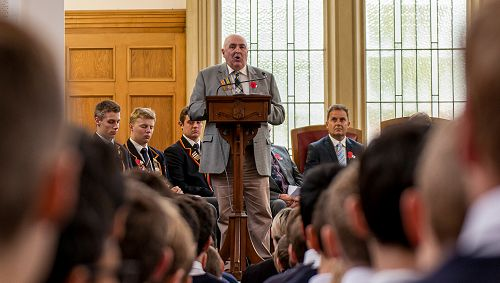ANZAC 2017; Mr Dennis Aitken addresses the college