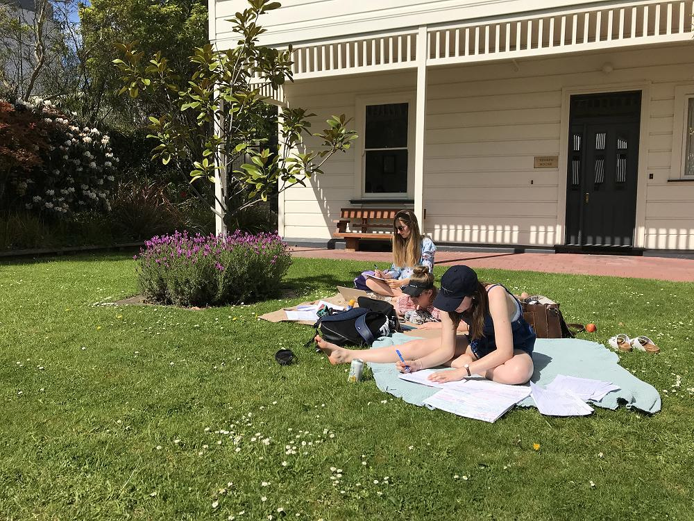 Studying outside Thorpe House - 19 October 2017