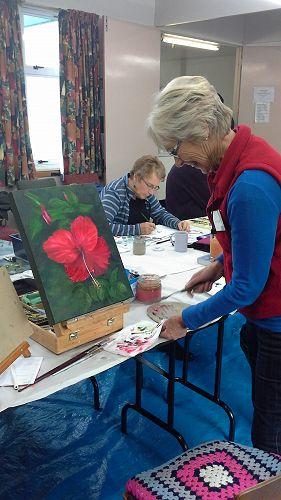 Margaret Calder with her vivid piece