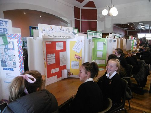 Year 8 students with their projects