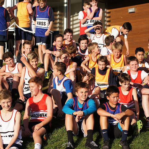 Y7&8 students relax after competing in the cross country