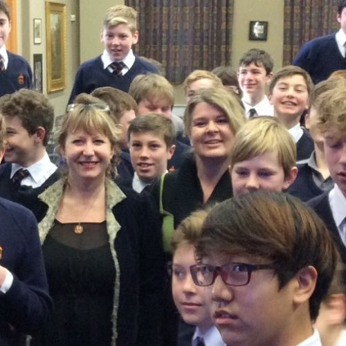 Clare Curran during a recent visit with JMC students, and teacher Deirdre Cooper