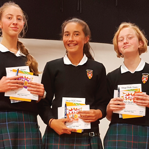 Saskia, Maia and Christine at the Spelling Bee