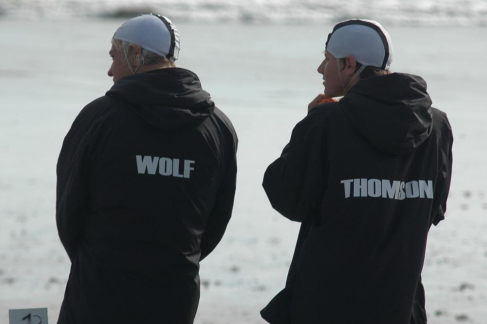 Nathan Wolf and Alex Thomson compete in the Surf Nationals at Ohope Beach