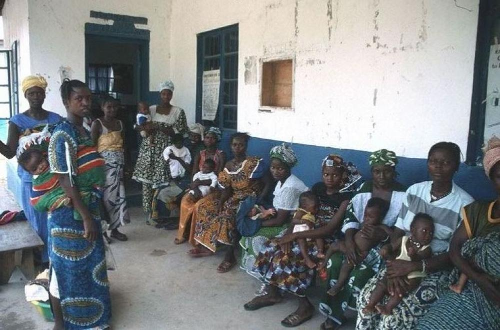 Villagers awaiting appointments at the Kayima Clin