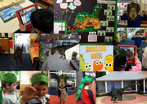 Dinosaurs visited Pre-School this week everywhere.  Mr Aaron found a book which bought them to life via the Ipad.  Miss Manson created amazing dinosaurs in the art area.