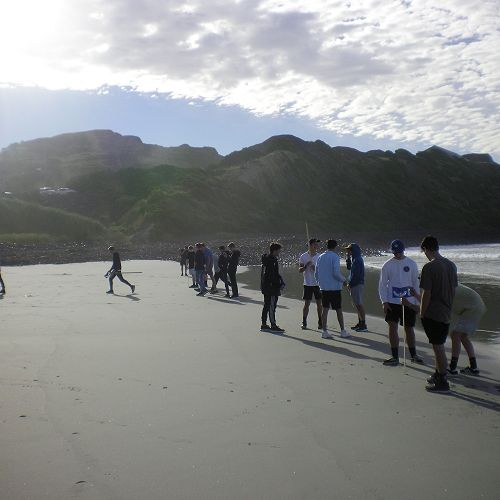 Year 13 Geographers gather beach profile data for their guided research projects.