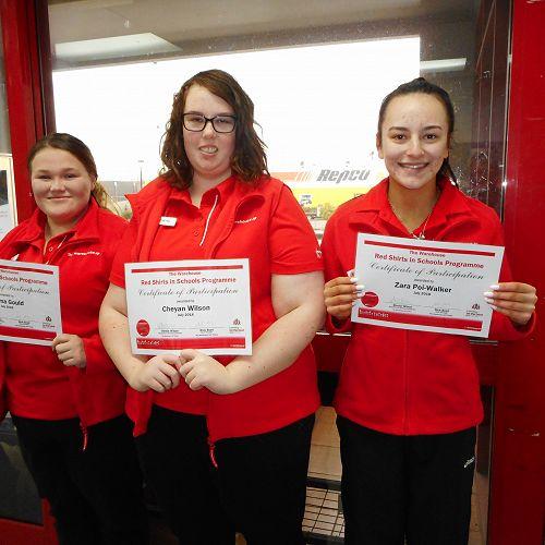 Red Shirts students Emma Gould, Cheyan Wilson and Zara Poi-Walker