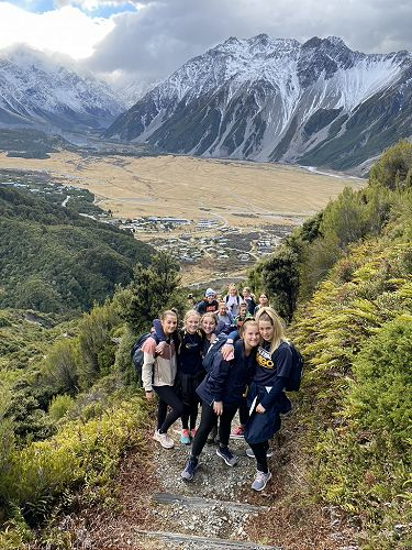 On the way up to the Red Tarns with Mt Cook Village in the background below.
