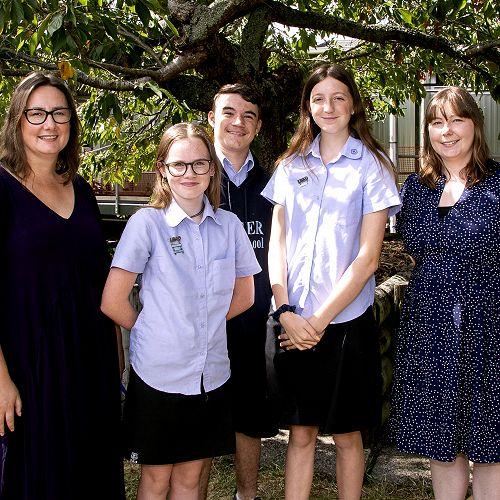 The Junior Debating Team with supporting teachers: (l-r)Sarah Henricksen-Healey (Teacher), Rebecca Clare, Corey Prendergast-Baxter, Jessica Titchiner, Mercedes Murdoch-Pike (Teacher)