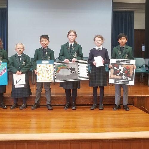 Bella, Matilda, Hugh, Zoe, Franki and Bilal share their artwork from Mrs Cockroft's extension art.
