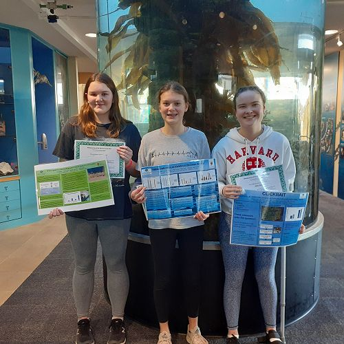 Olivia Adie, Annabel Ludgate and Heather Lawrence at the Marine Studies Centre