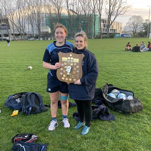 Grace and Miss Sutherland with the winning shield!