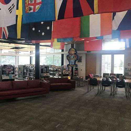 So many nationalities at the school - represented by the flags in the library.