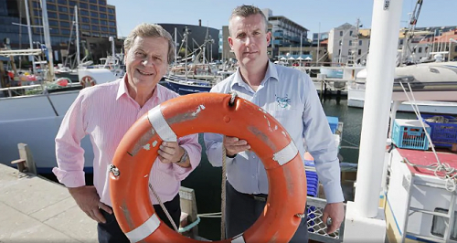 Journalist Ray Martin (left) and Tasmanian Seafood Industry Council Chief Executive Julian Harrington attended the Stay Afloat event, a fundraiser for mental health in the seafood industry.