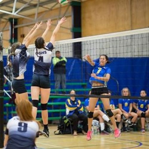Maddy Campbell and Taylor Thorne executing a block against Whangarei girls in the quarter finals at the recent National secondary School Volleyball Championships held in Palmerston north.