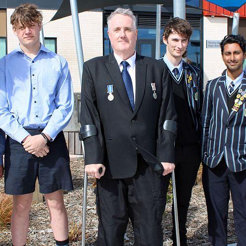 Jarrod O'Sullivan and students