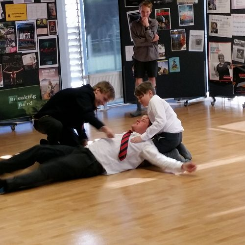 Improsaurus Workshop with Theatresports team. Junior and Senior students are put through their paces in a range of improv exercises and games.