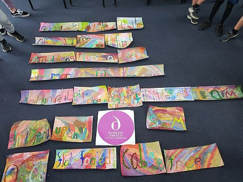 Painted Poems at Portobello School and CoL logo