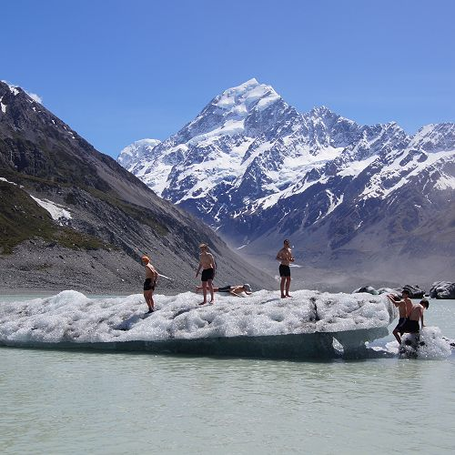 Billy, Nathan and Elliot join George, Tim, Will and Sam on an iceberg in the Hooker Glacier Lake