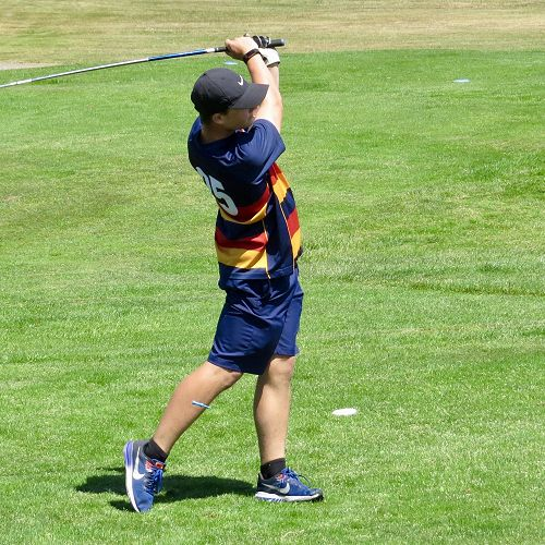 Adam Woodhouse drives the ball long during his round at the Otago Interprovincial Golf tournament, Roxburgh.