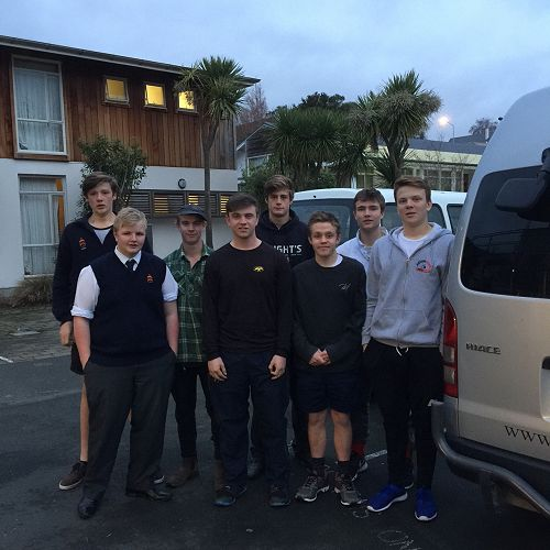 Octacan appeal helpers: From left : Front row: Matt McKnight, Tim Booth, Connor Johnstone, Josh Bijl, back row: Toby Hope, James Preston (wearing cap), George Hope and Ben Wright.