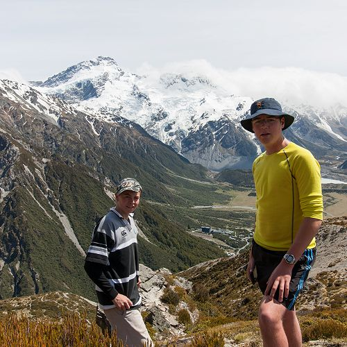 Tom Shallard and Max Gomez enjoy the view from an unnamed saddle above Red Tarns.