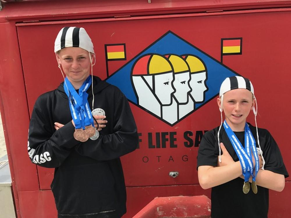 Marshall Macready and Ollie Sinclair had a very successful South Island Under-14 Surf Lifesaving Championship