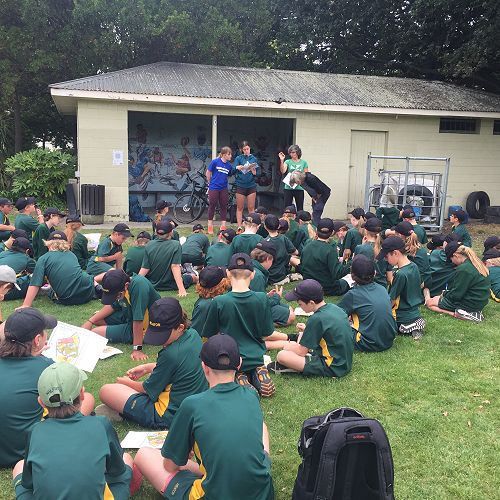 Peninsula and Plains Orienteering staff briefed students on how to read a rogaine orienteering map before the event began at Hagley Park.