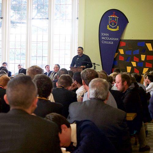 Jamie Joseph addresses an audience of 300