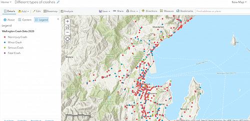 Wellington crash map