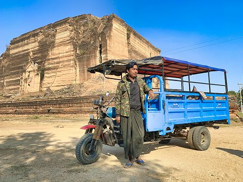 Local transport and the unfinished pagoda, Mingun, Myanmar